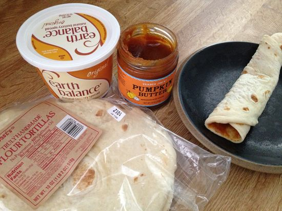 3 minute pumpkin pie wrap! Turn oven on broil (can use a toaster oven), spread Earth Balance onTruly Handmade tortilla (can use any bread), put in oven for one minute (just to get a slight crisp), then spread Trader Joe's Pumpkin Butter - wrap up and enjoy!