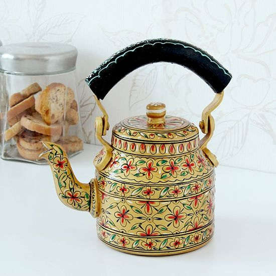 Kaushalam Tea Kettle Golden & Black - FabFurnish.com-Kitchen-Decor