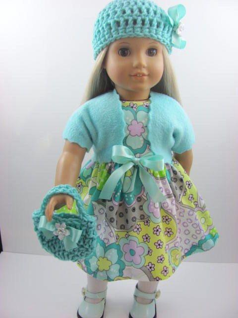Whimsical Floral Dot Doll Dress, Sash, Shrug, Hat, and Handbag for the American Girl Doll