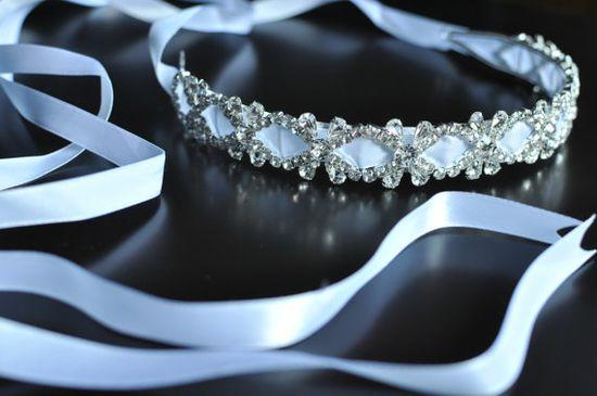 Bridal Headband Wedding Rhinestone White by bellasbowtique2008, $39.99