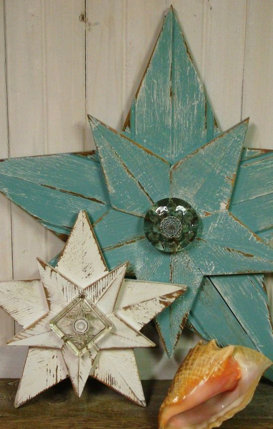 Shabby Chic Giant Aqua Beach Star - 34 Inches - Recycled Wood Wall Star with Vintage Glass. $150.00, via Etsy.