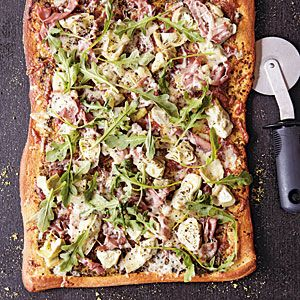 Artichoke and Arugula Pizza with Proscuitto from Cooking Light Crave!