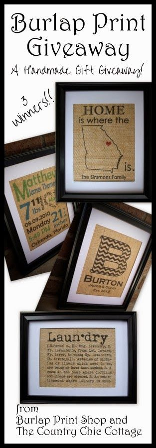 Win a burlap print in this great handmade gift giveaway!  3 Winners!!
