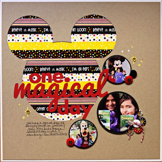 #papercraft #scrapbook #layout #Disney Layout: One Magical day featuring Queen & Co's Magic Trendy Tape
