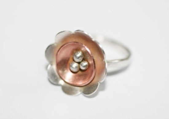 Mixed Metals Sterling Silver and Copper Spring Flower Handmade Ring