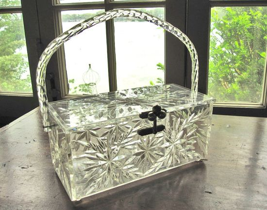 Super Cool~  Vintage clear Lucite purse 1950s handbag cut glass by modernpoetry, on ETSY