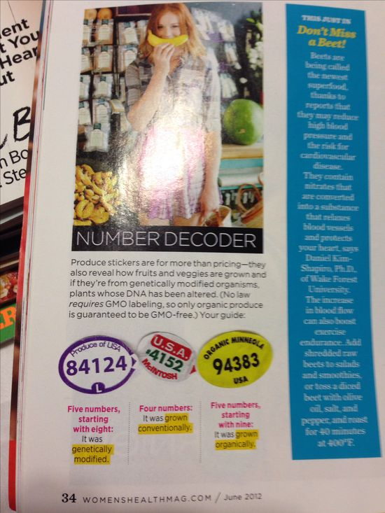 Women's Health Tip - Number Decoder on Produce