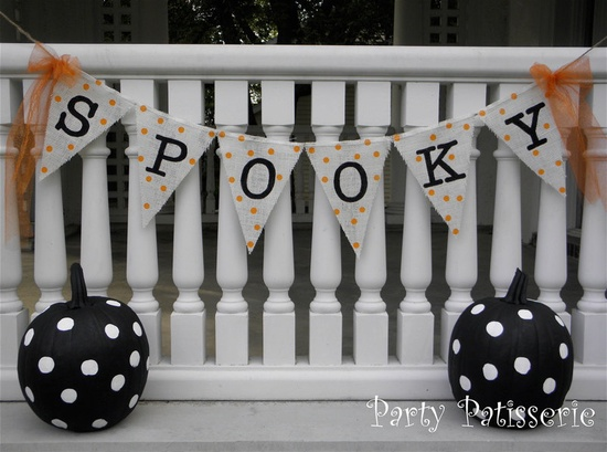 """""""Spooky"""" Halloween Burlap Banner Bunting"""