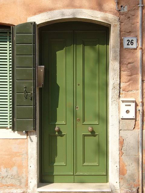 door on murano island, venice, italy