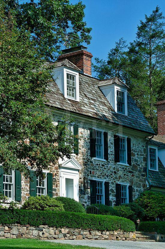 Colonial fieldstone house