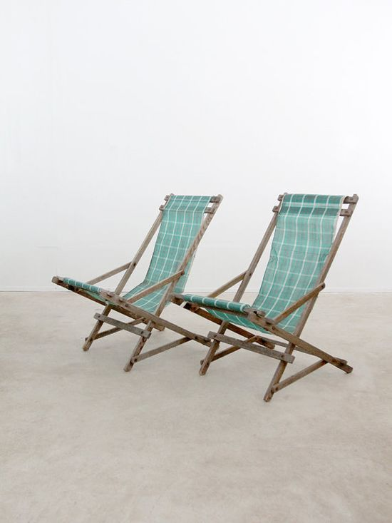 Weather-worn with oodles of charm, I would use these unusual rocking-style vintage deck chairs inside and out. #DeborahBeau