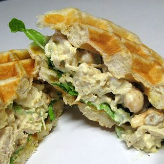 Curried Chicken Salad Waffle Sandwiches by realmomkitchen #Sandwich #Waffle #Salad #Chicken