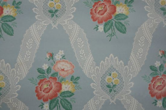 1940's Vintage Wallpaper lace lattice and pretty floral bouquets on blue background on Etsy, $14.00