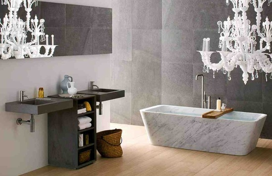 Bathroom, White Natural Stone Bathtub Bathroom Interior Design Inspiration: Exclusive and Super Limited Edition of Natural Stone Bathtub
