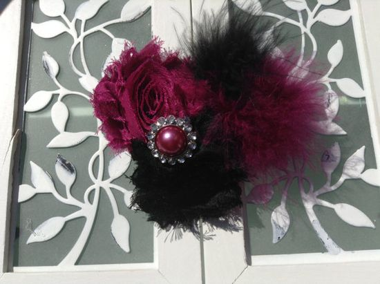 Black and wine feather hair bow for teens and little girls. Christmas hair bow.