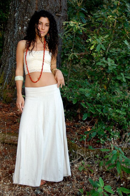 Maxi Avalon Skirt In Raw Cotton In Cream/ Natural In by ZhenNymph, $70.00