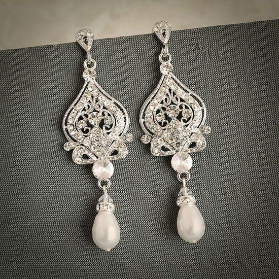 GRACE Vintage Inspired Wedding Bridal Earrings by GlamorousBijoux, $68.00