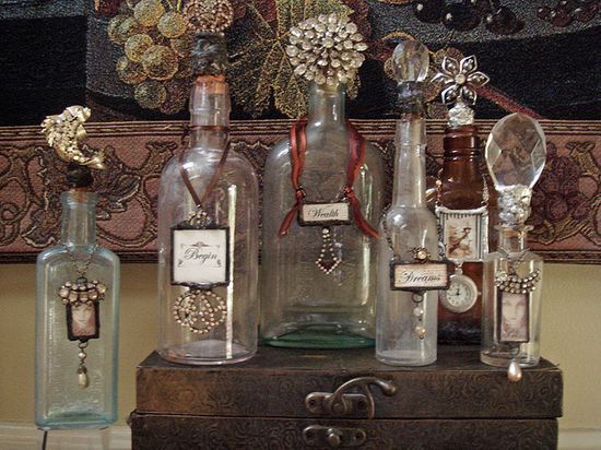 Turn ordinary bottles into vintage looking display or gift bottles