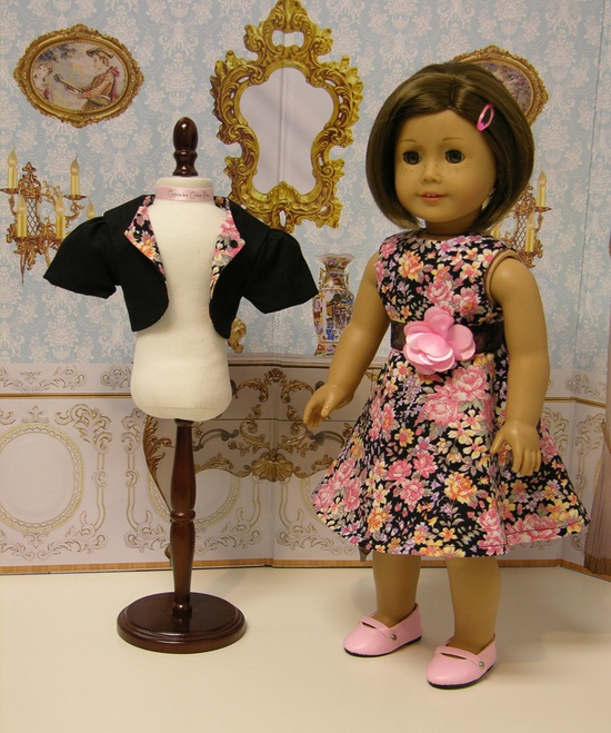 Floral Romance - sleeveless dress for American Girl doll with jacket. $55.00, via Etsy.