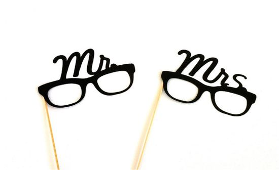 Mrs and Mrs Glasses Set Photo Booth Props by CreativeButterflyXOX, $9.95
