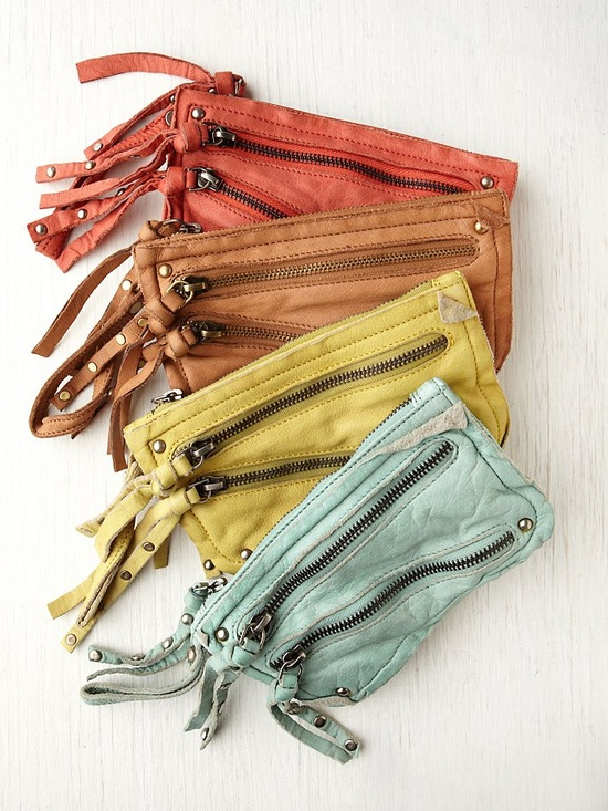 Free People distressed double zip wallet. Colour pallet.