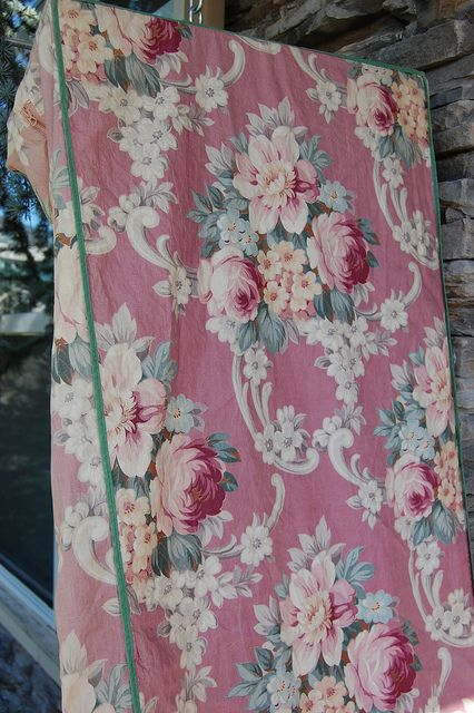 vintage rose barkcloth..clothes closet