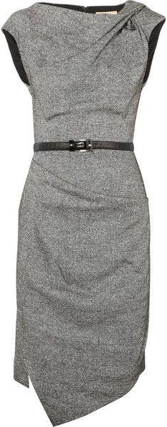 MICHAEL KORS Draped Wool and Silkblend Tweed Dress