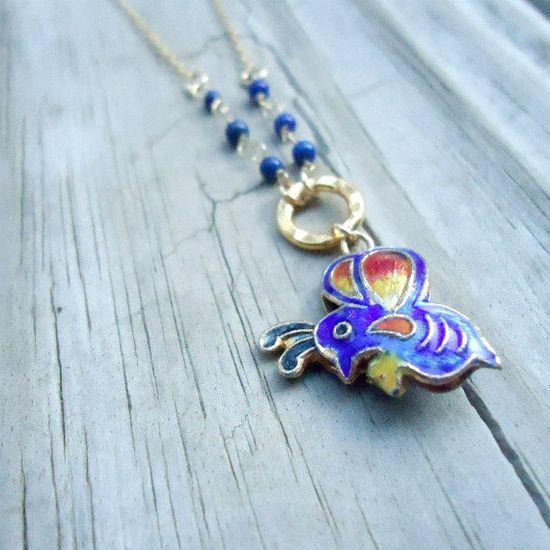 Navy Blue Necklace Cloisonne Butterfly Lapis by jewelrybycarmal, $26.00