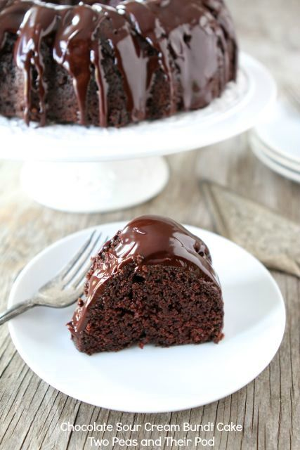 Chocolate Sour Cream Bundt Cake from www.twopeasandthe... The most amazing chocolate cake!