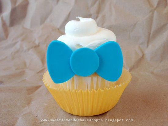 Edible Handmade Bow Tie Cupcake topper.
