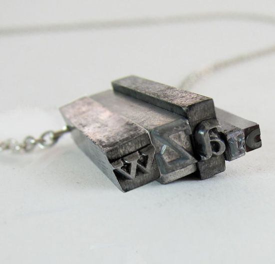 Vintage Letterpress Necklace from Print Museum www.etsy.com/... #typefaces #jewelry