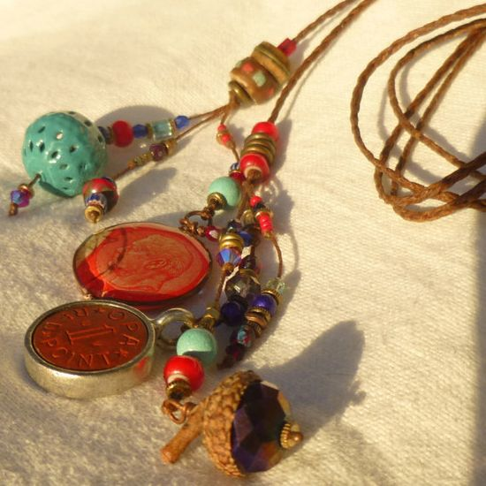 bohemian boho necklace with vintage and handmade charms