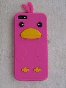 Pink duck iphone cover.