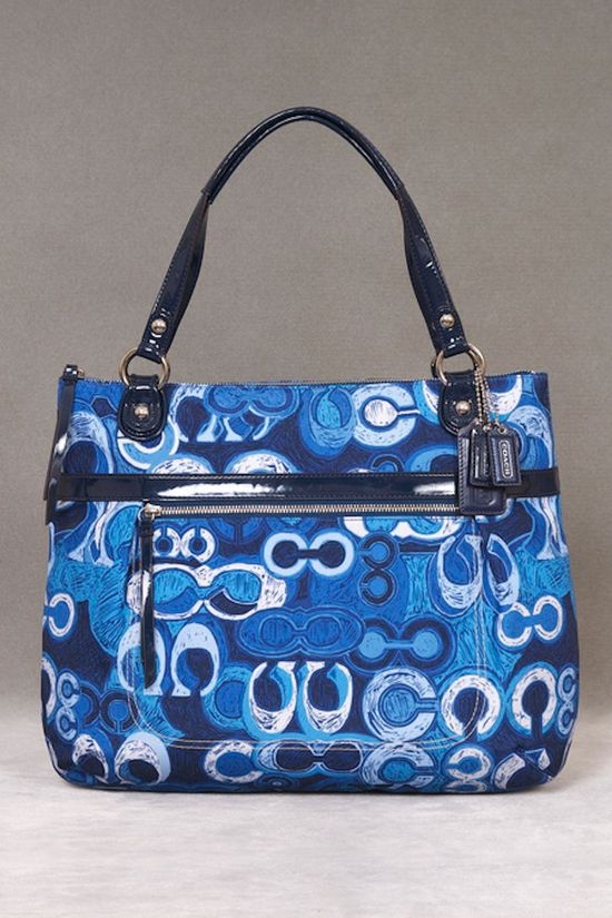 Coach Poppy Denim Print Glam Tote in Blue and Multicolor