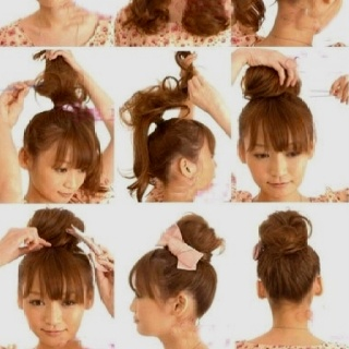 Tease your pony tail then gently and neatly wrap it around and pin it in place. Hair accesories are optional.