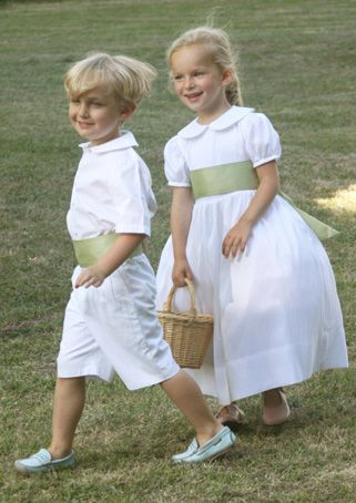 White and green flower girl dress and page boy outfit. jr bridesmaid dress designed by littleeglantine.com
