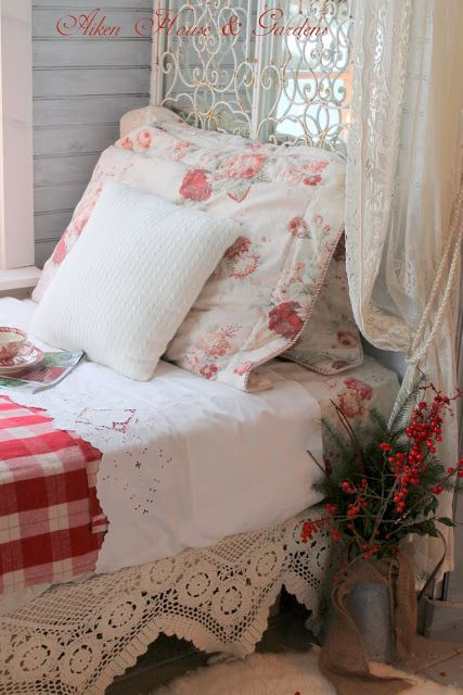 red and white, antique linen and lace, floral and buffalo check.  sweet