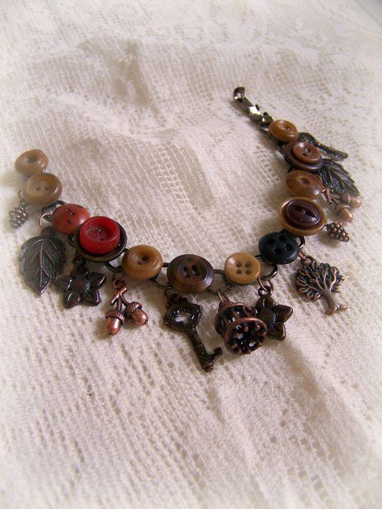 Handmade Charm Bracelet Fall Bracelet Autumn Jewelry by QueenBe, $38.00