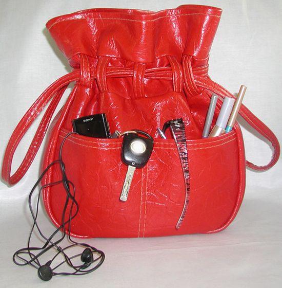 Ahead of it's Time,...  Red Vinyl Handbag