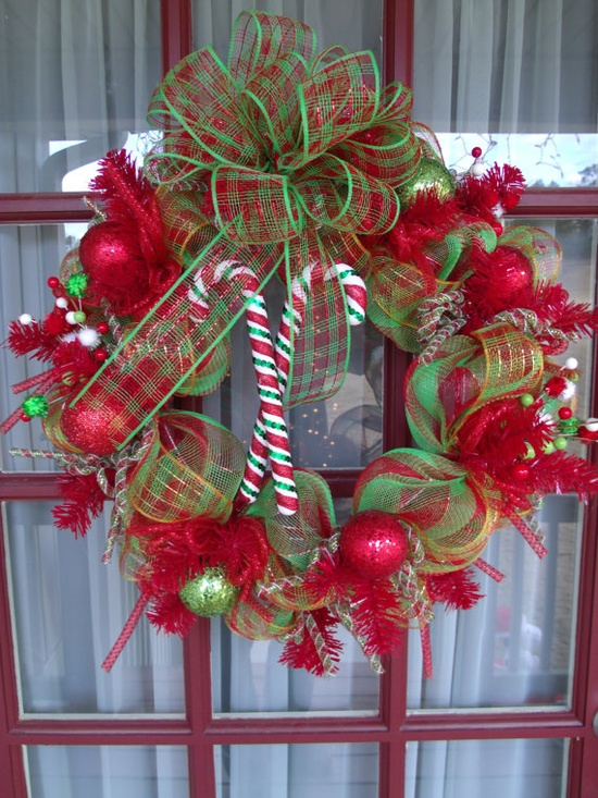 Lime Green  Red  Candy Cane Christmas Door Deco by CrazyboutDeco, $79.00