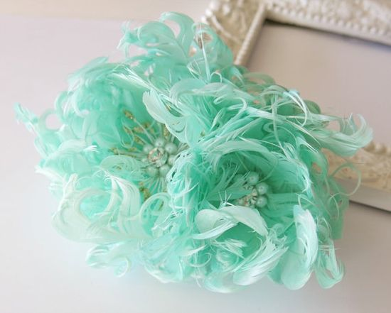 Mint Wedding Hair Flower Feather Fascinator by parfaitplumes, $36.00