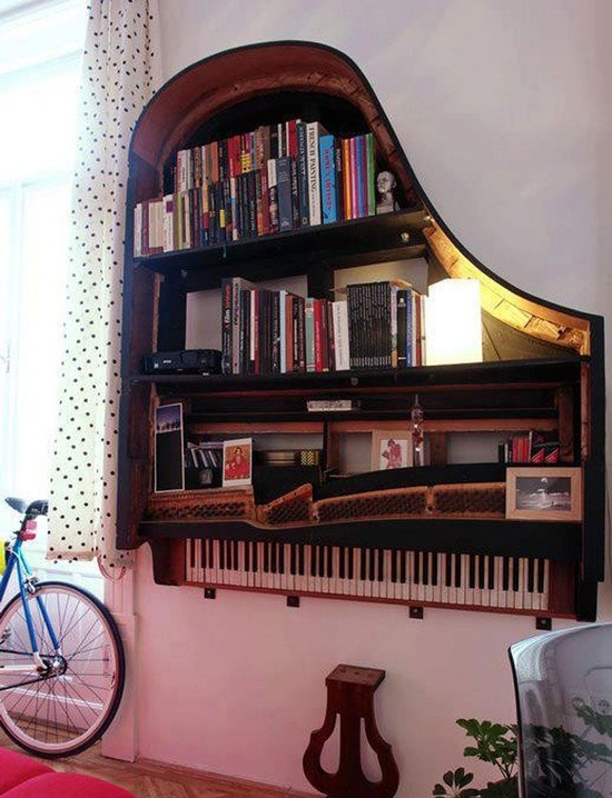 Who would have thought you could turn a grand piano into a tall bookcase #upcycling