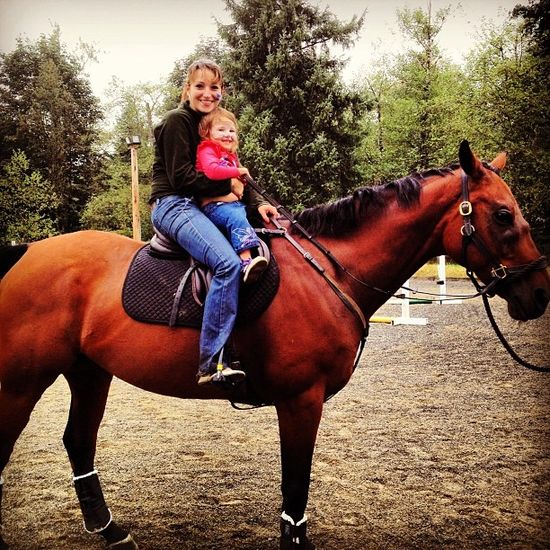 """Even though there was a thunderstorm, we still had """"pony"""" rides at our company picnic! #brave #ponyride #cute #motherdaughter #picnic #companypicnic #familytime   cozi.com"""