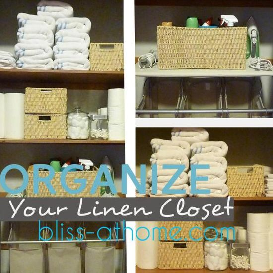 Tips & ideas for organizing your linen closet and bathroom storage. :)
