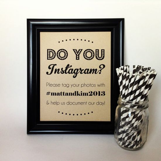 INSTAGRAM Wedding Sign Twitter Social Media by PurplePeonyCouture on Etsy