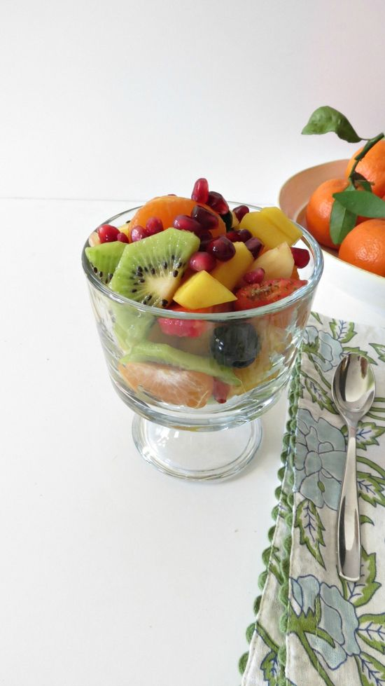 Fruit Salad - A light sweet fruit salad mixed with honey and lime juice.