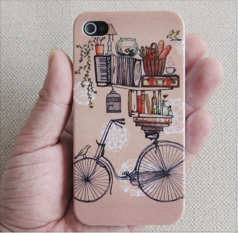 Bicycle and Book iPhone 4 Case iPhone 4s Case iPhone by BearLbunny, $ 9.99