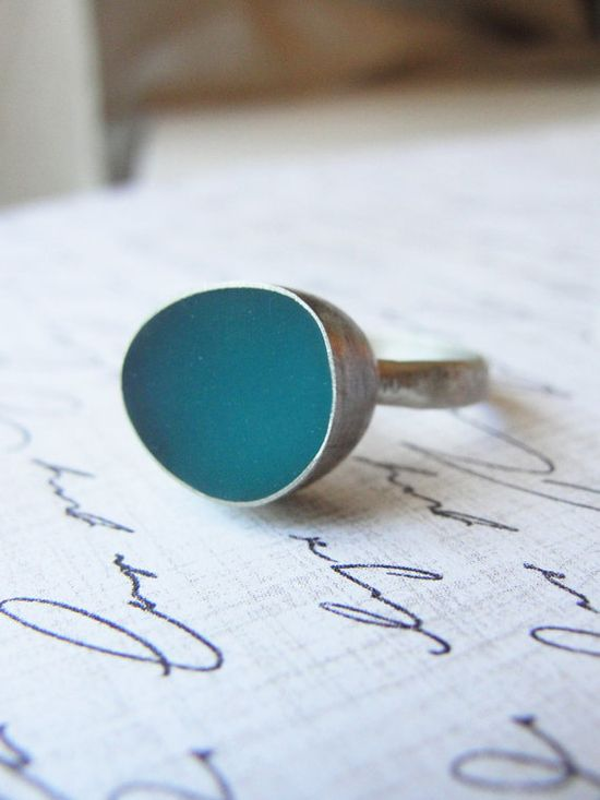 Teal and silver ring- Handmade silver jewelry