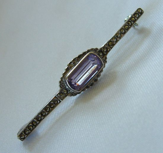 Art Deco Amethyst Bar Pin with Marcasites 1930s Jewelry via Etsy