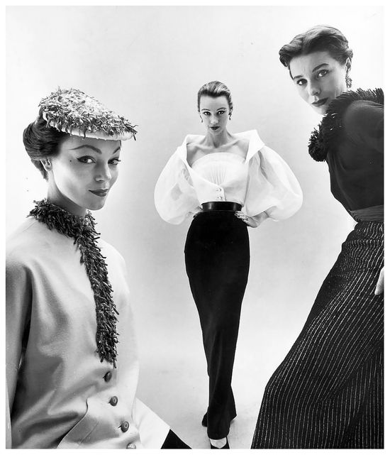 """Ivy Nichols, Sophie Malagat Litvak and """"Bettina"""" in Givenchy's interchangeable tops and skirts, photo by Nat Farbman, Feb. 1952"""